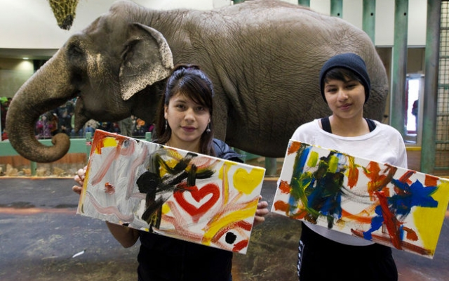 iHuman youth paint with Lucy the elephant